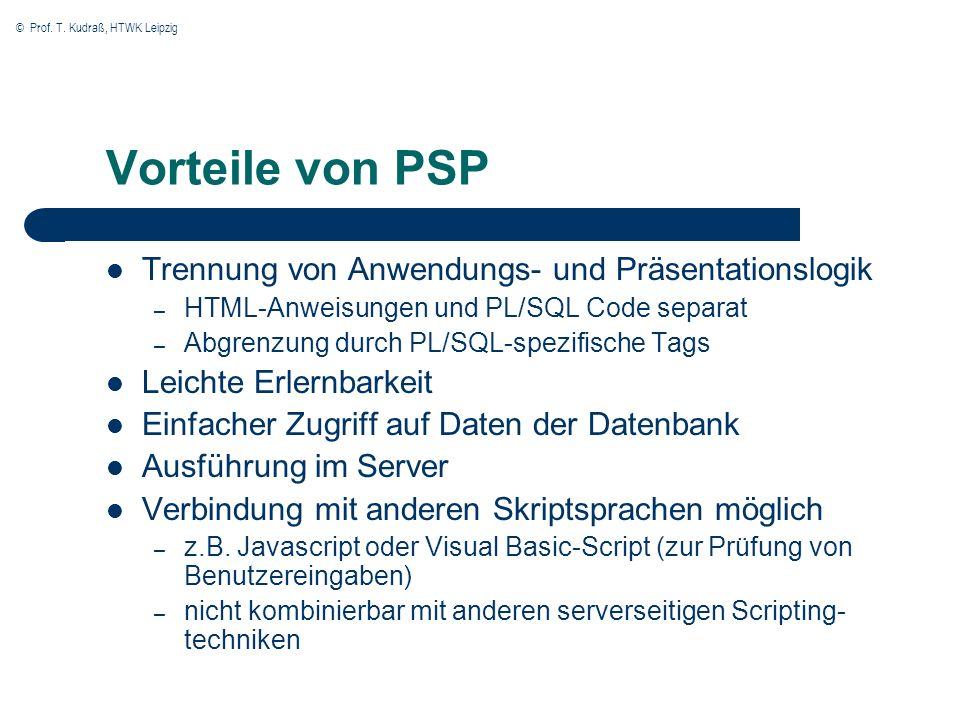 © Prof. T. Kudraß, HTWK Leipzig Beispiel einer Generierung