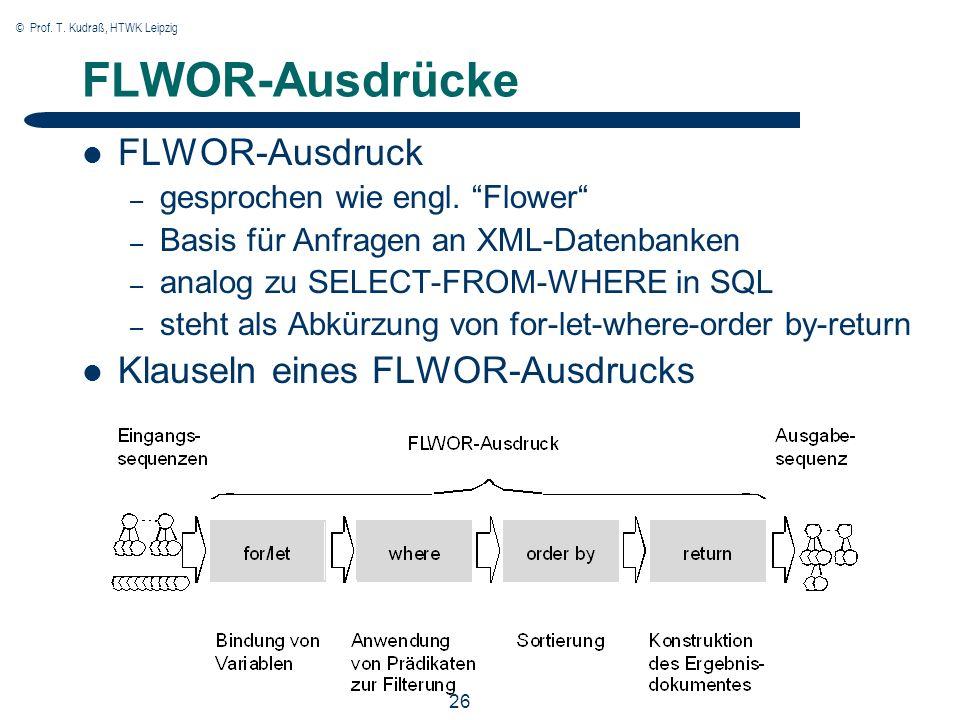 © Prof. T. Kudraß, HTWK Leipzig 26 FLWOR-Ausdrücke FLWOR-Ausdruck – gesprochen wie engl.