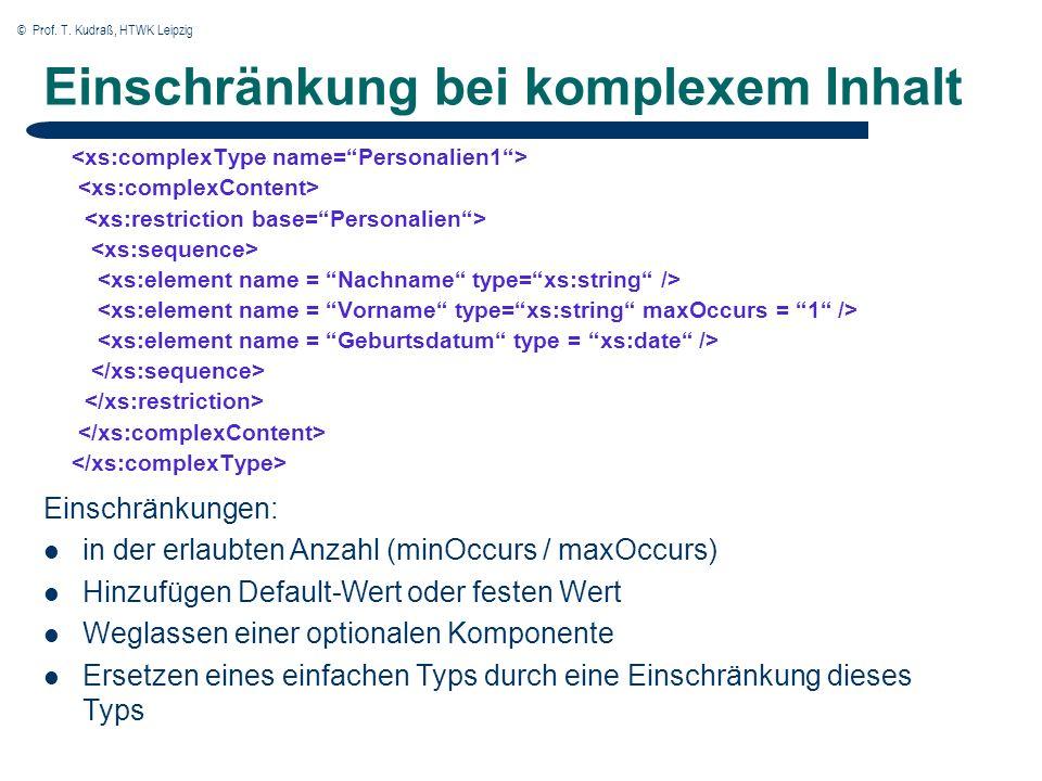 © Prof. T. Kudraß, HTWK Leipzig Einschränkung bei komplexem Inhalt Einschränkungen: in der erlaubten Anzahl (minOccurs / maxOccurs) Hinzufügen Default