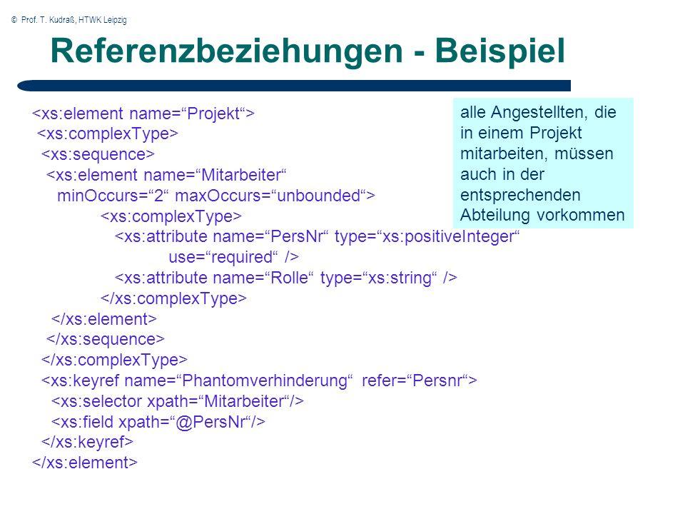 © Prof. T. Kudraß, HTWK Leipzig Referenzbeziehungen - Beispiel <xs:element name=Mitarbeiter minOccurs=2 maxOccurs=unbounded> <xs:attribute name=PersNr