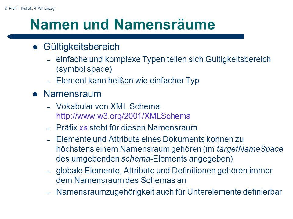 © Prof. T. Kudraß, HTWK Leipzig Namen und Namensräume Gültigkeitsbereich – einfache und komplexe Typen teilen sich Gültigkeitsbereich (symbol space) –