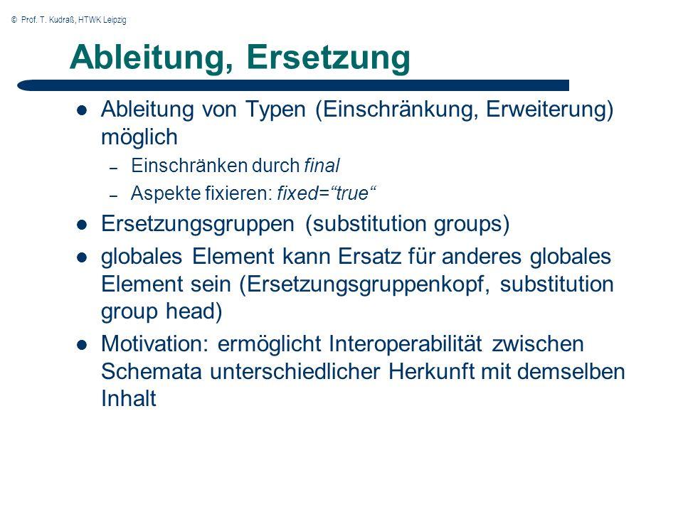 © Prof. T. Kudraß, HTWK Leipzig Ableitung, Ersetzung Ableitung von Typen (Einschränkung, Erweiterung) möglich – Einschränken durch final – Aspekte fix