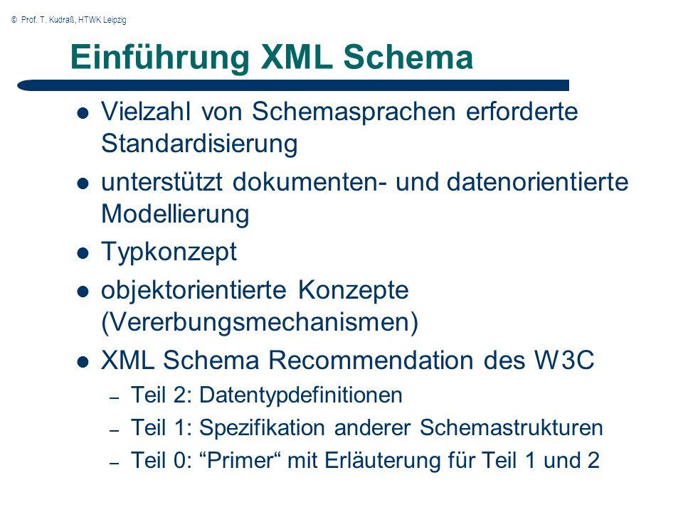 © Prof. T. Kudraß, HTWK Leipzig Einführung XML Schema Vielzahl von Schemasprachen erforderte Standardisierung unterstützt dokumenten- und datenorienti