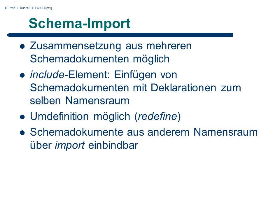 © Prof. T. Kudraß, HTWK Leipzig Schema-Import Zusammensetzung aus mehreren Schemadokumenten möglich include-Element: Einfügen von Schemadokumenten mit
