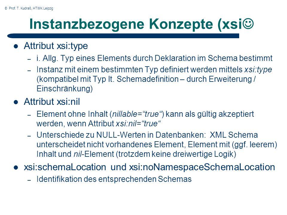 © Prof. T. Kudraß, HTWK Leipzig Instanzbezogene Konzepte (xsi Attribut xsi:type – i. Allg. Typ eines Elements durch Deklaration im Schema bestimmt – I
