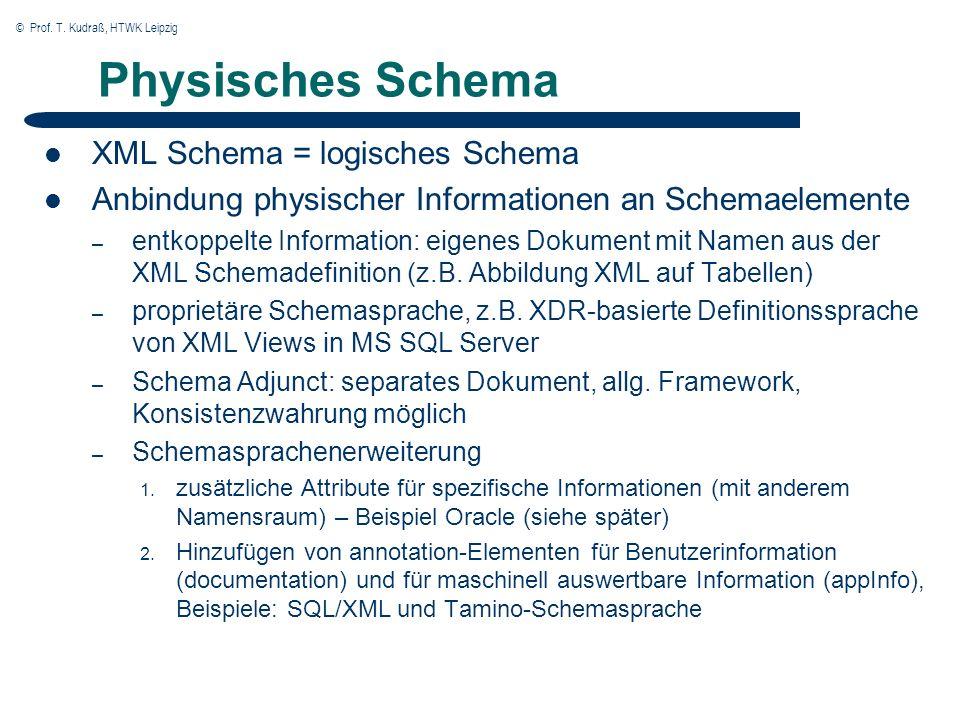 © Prof. T. Kudraß, HTWK Leipzig Physisches Schema XML Schema = logisches Schema Anbindung physischer Informationen an Schemaelemente – entkoppelte Inf
