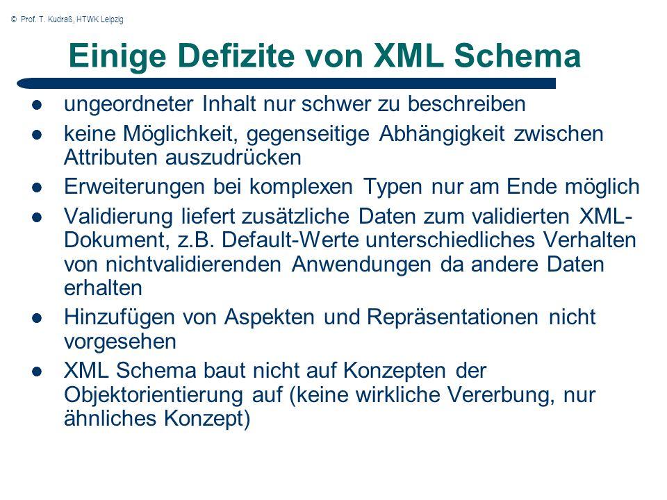 © Prof. T. Kudraß, HTWK Leipzig Einige Defizite von XML Schema ungeordneter Inhalt nur schwer zu beschreiben keine Möglichkeit, gegenseitige Abhängigk