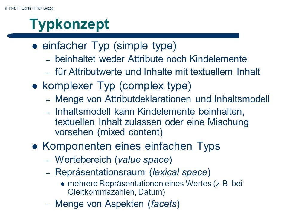 © Prof. T. Kudraß, HTWK Leipzig Typkonzept einfacher Typ (simple type) – beinhaltet weder Attribute noch Kindelemente – für Attributwerte und Inhalte