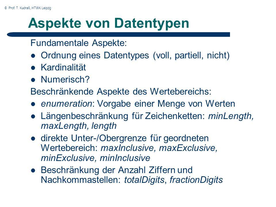 © Prof. T. Kudraß, HTWK Leipzig Aspekte von Datentypen Fundamentale Aspekte: Ordnung eines Datentypes (voll, partiell, nicht) Kardinalität Numerisch?