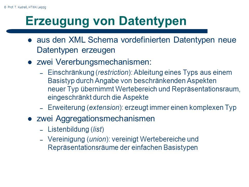 © Prof. T. Kudraß, HTWK Leipzig Erzeugung von Datentypen aus den XML Schema vordefinierten Datentypen neue Datentypen erzeugen zwei Vererbungsmechanis