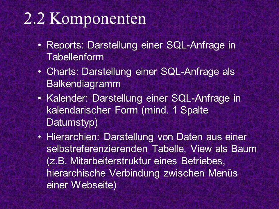 2.2 Komponenten Reports: Darstellung einer SQL-Anfrage in Tabellenform Charts: Darstellung einer SQL-Anfrage als Balkendiagramm Kalender: Darstellung einer SQL-Anfrage in kalendarischer Form (mind.
