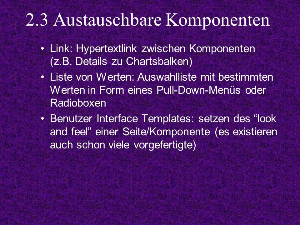 2.3 Austauschbare Komponenten Link: Hypertextlink zwischen Komponenten (z.B.