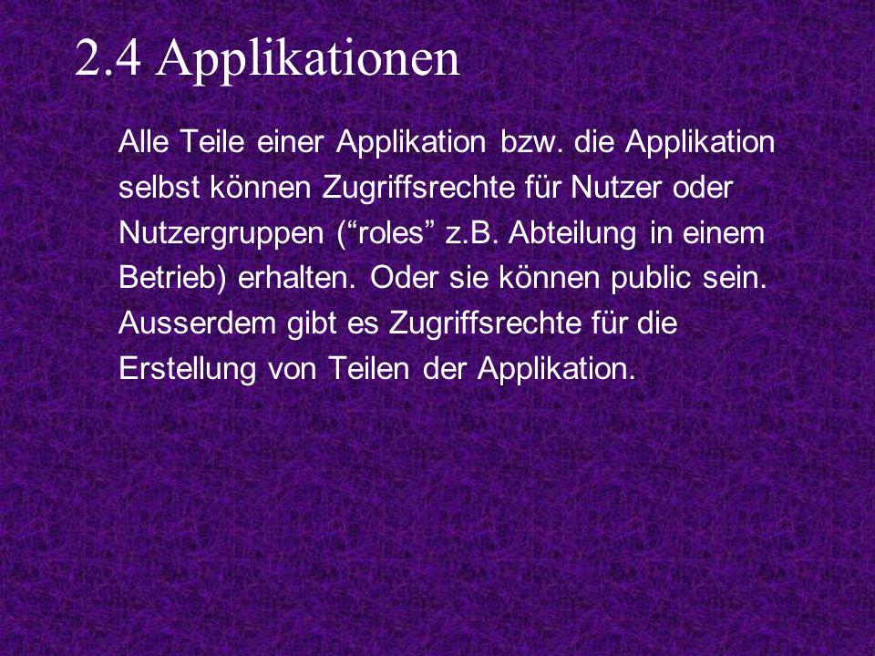 2.4 Applikationen Alle Teile einer Applikation bzw.