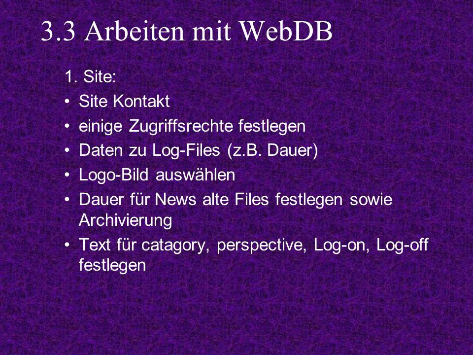 3.3 Arbeiten mit WebDB 1.