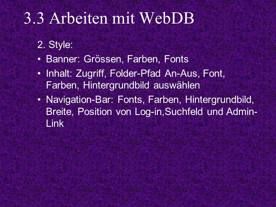 3.3 Arbeiten mit WebDB 2.