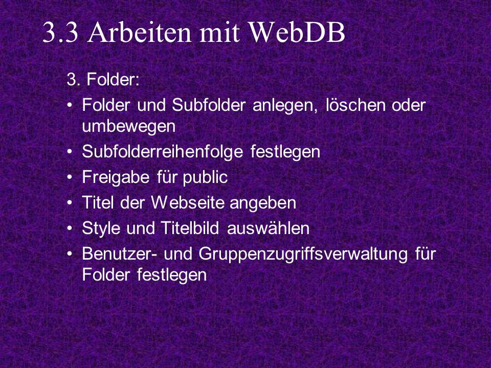 3.3 Arbeiten mit WebDB 3.