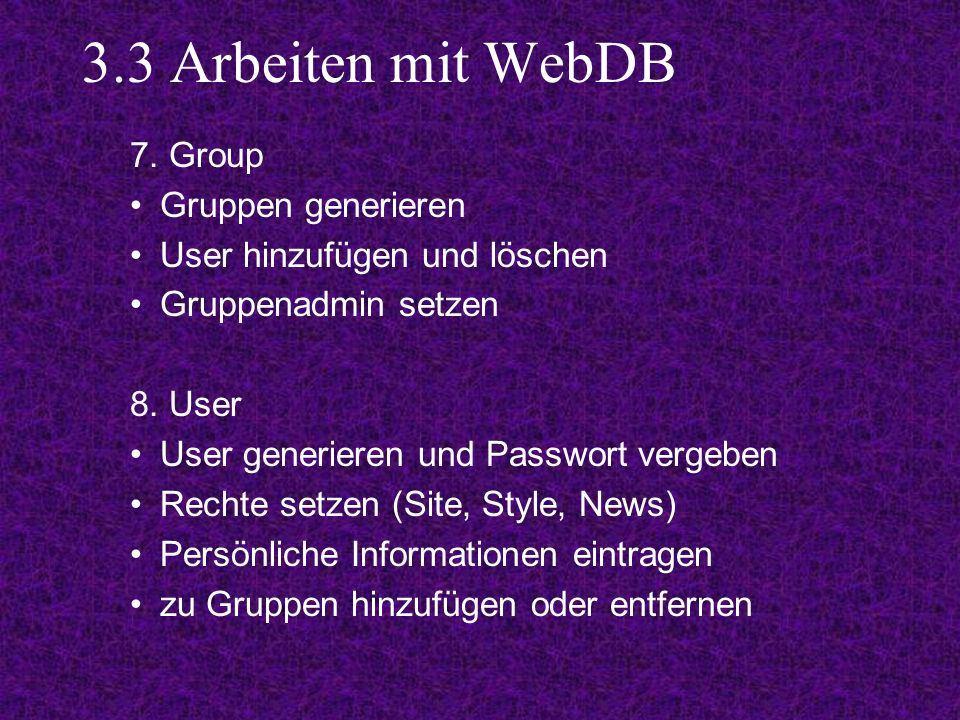 3.3 Arbeiten mit WebDB 7.