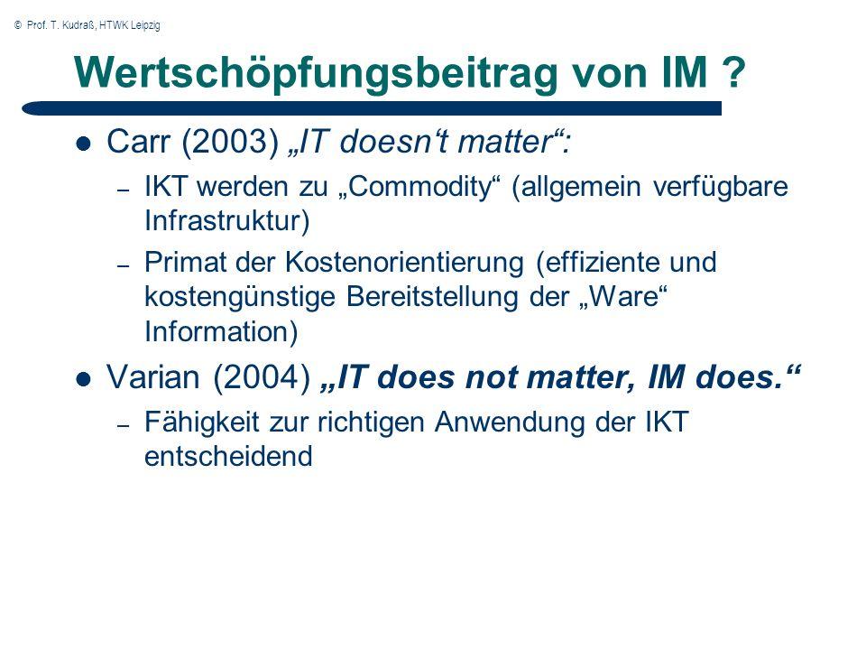 © Prof. T. Kudraß, HTWK Leipzig Wertschöpfungsbeitrag von IM .