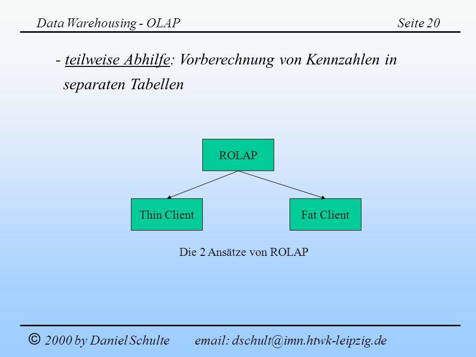 Data Warehousing - OLAPSeite 20 © 2000 by Daniel Schulte email: dschult@imn.htwk-leipzig.de - teilweise Abhilfe: Vorberechnung von Kennzahlen in separ