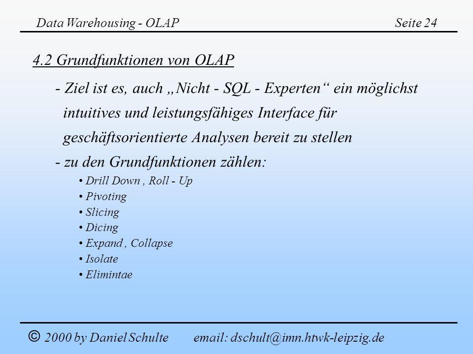 Data Warehousing - OLAPSeite 24 © 2000 by Daniel Schulte email: dschult@imn.htwk-leipzig.de 4.2 Grundfunktionen von OLAP - Ziel ist es, auch Nicht - S