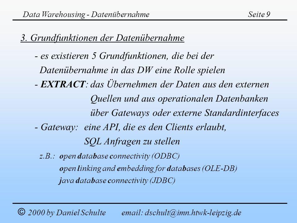 Data Warehousing - DatenübernahmeSeite 9 © 2000 by Daniel Schulte email: dschult@imn.htwk-leipzig.de 3. Grundfunktionen der Datenübernahme - es existi