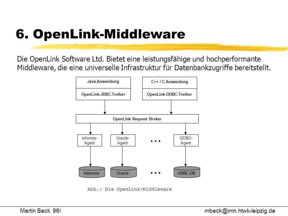 Martin Beck 96Imbeck@imn.htwk-leipzig.de 6. OpenLink-Middleware Die OpenLink Software Ltd. Bietet eine leistungsfähige und hochperformante Middleware,