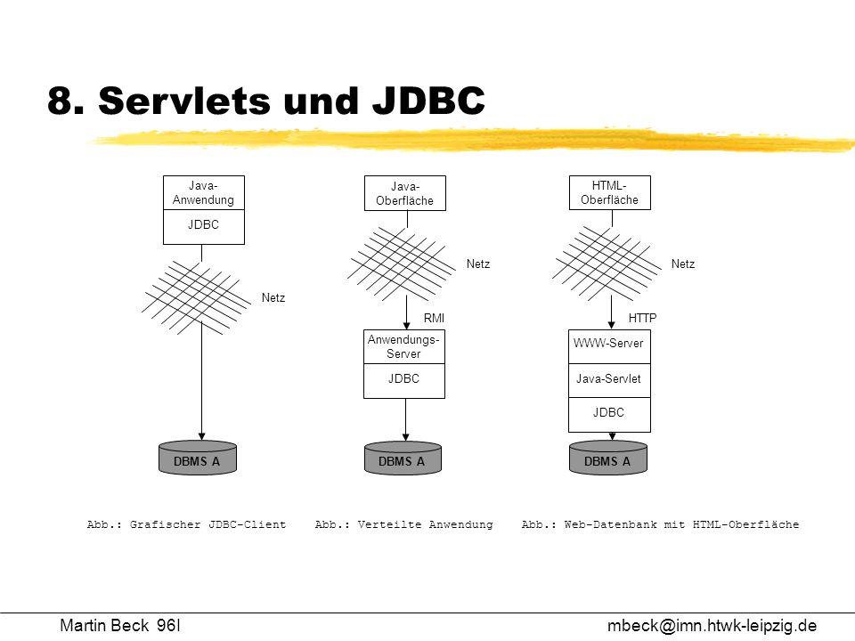 Martin Beck 96Imbeck@imn.htwk-leipzig.de 8. Servlets und JDBC DBMS A JDBC Anwendungs- Server Java- Oberfläche Netz RMI JDBC Java- Anwendung Netz DBMS