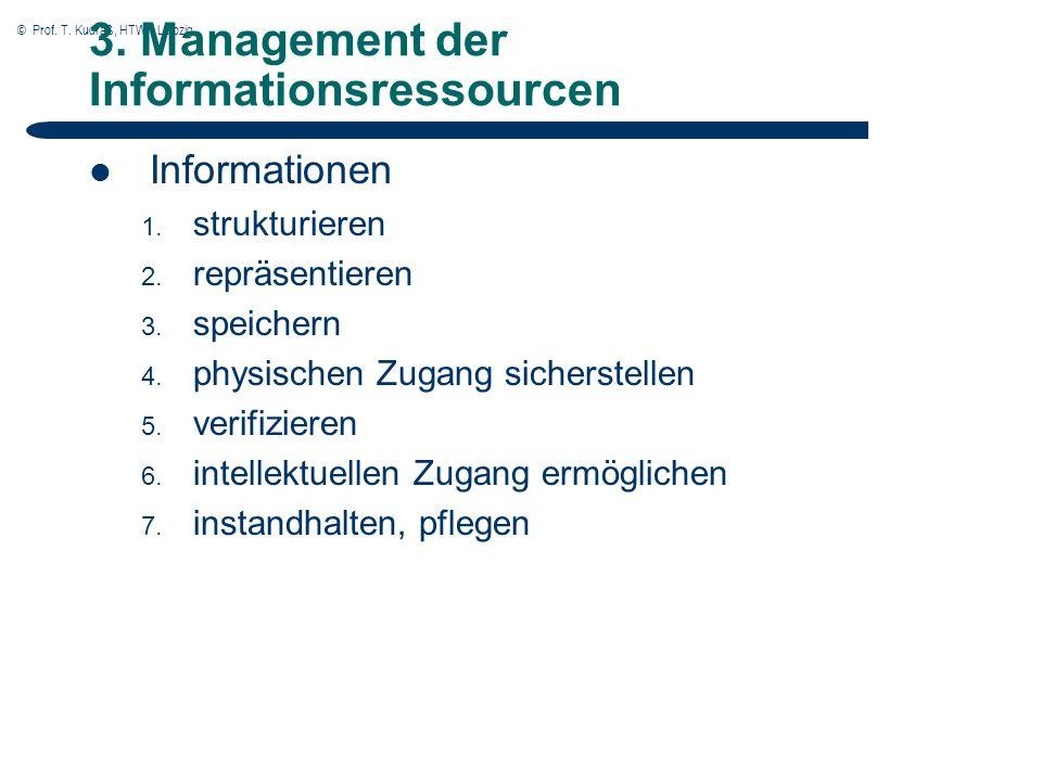 © Prof. T. Kudraß, HTWK Leipzig 3. Management der Informationsressourcen Informationen 1.