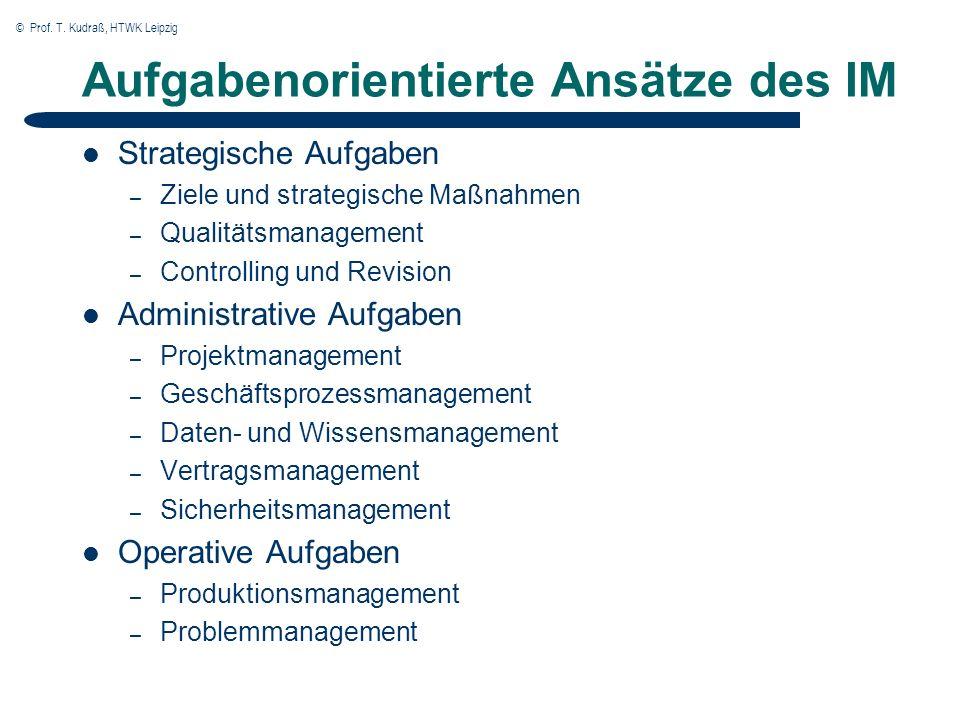 © Prof. T. Kudraß, HTWK Leipzig Aufgabenorientierte Ansätze des IM Strategische Aufgaben – Ziele und strategische Maßnahmen – Qualitätsmanagement – Co