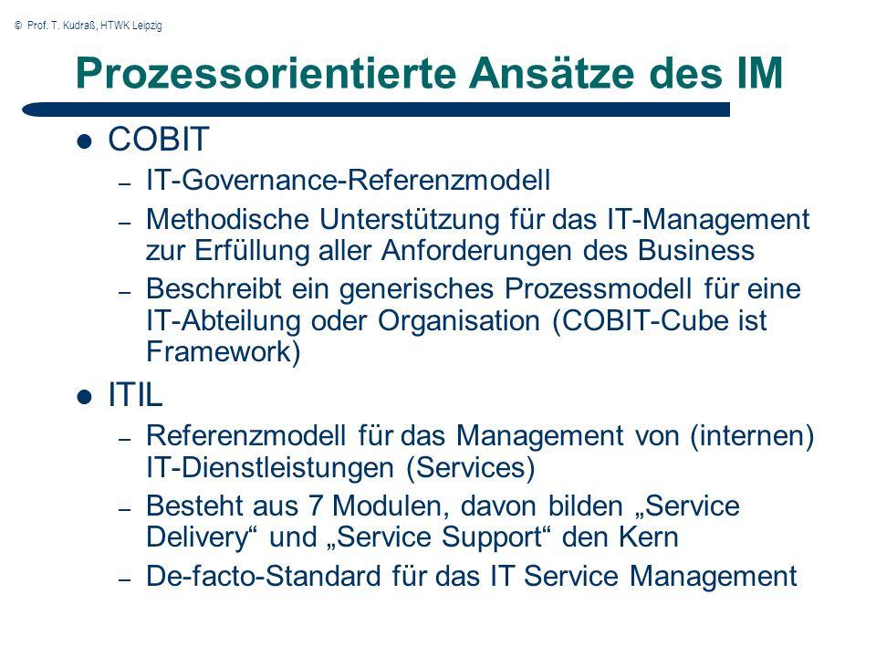 © Prof. T. Kudraß, HTWK Leipzig Prozessorientierte Ansätze des IM COBIT – IT-Governance-Referenzmodell – Methodische Unterstützung für das IT-Manageme