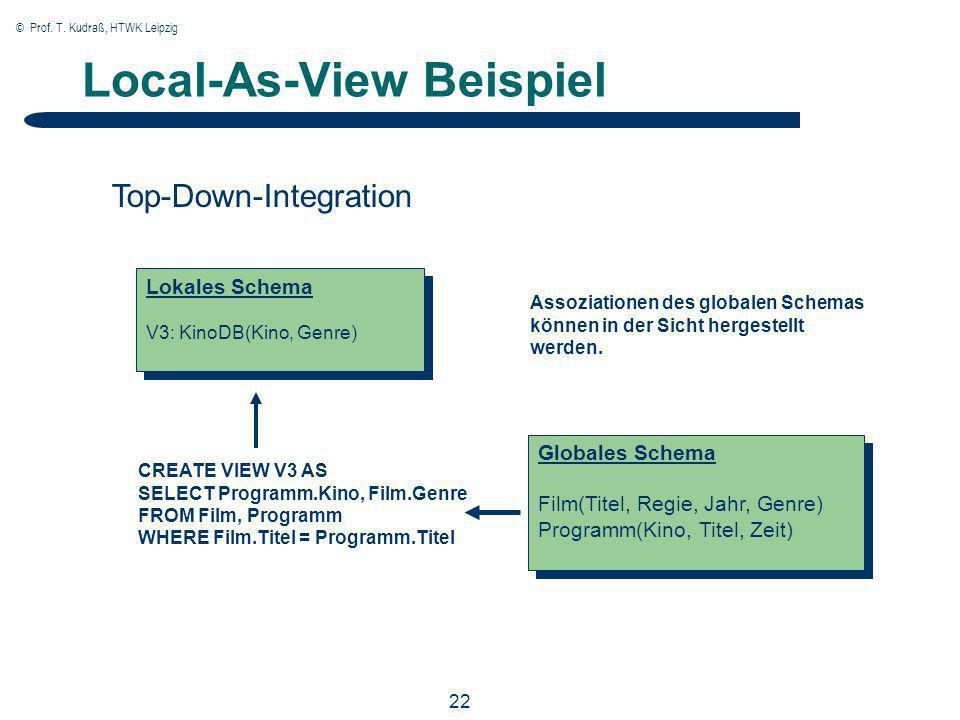 © Prof. T. Kudraß, HTWK Leipzig 22 Local-As-View Beispiel CREATE VIEW V3 AS SELECT Programm.Kino, Film.Genre FROM Film, Programm WHERE Film.Titel = Pr
