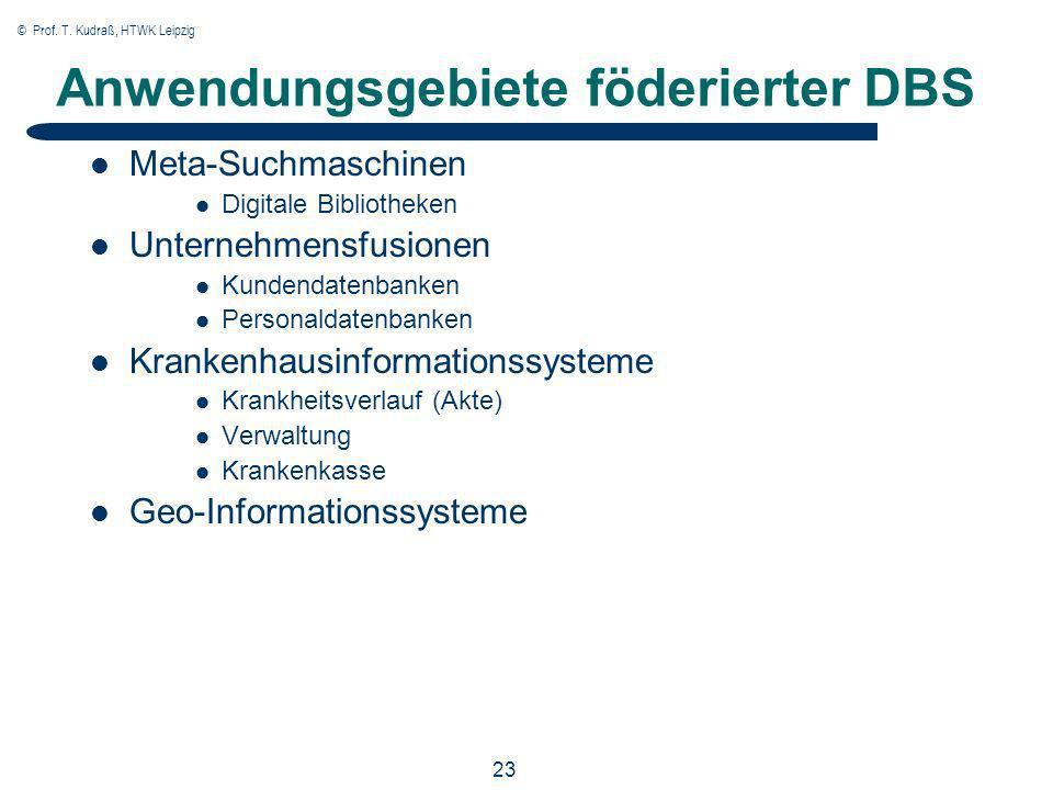 © Prof. T. Kudraß, HTWK Leipzig 23 Anwendungsgebiete föderierter DBS Meta-Suchmaschinen Digitale Bibliotheken Unternehmensfusionen Kundendatenbanken P