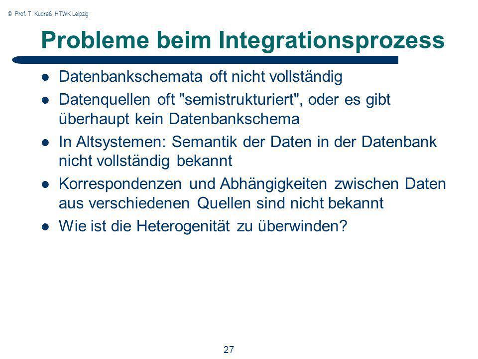 © Prof. T. Kudraß, HTWK Leipzig 27 Probleme beim Integrationsprozess Datenbankschemata oft nicht vollständig Datenquellen oft