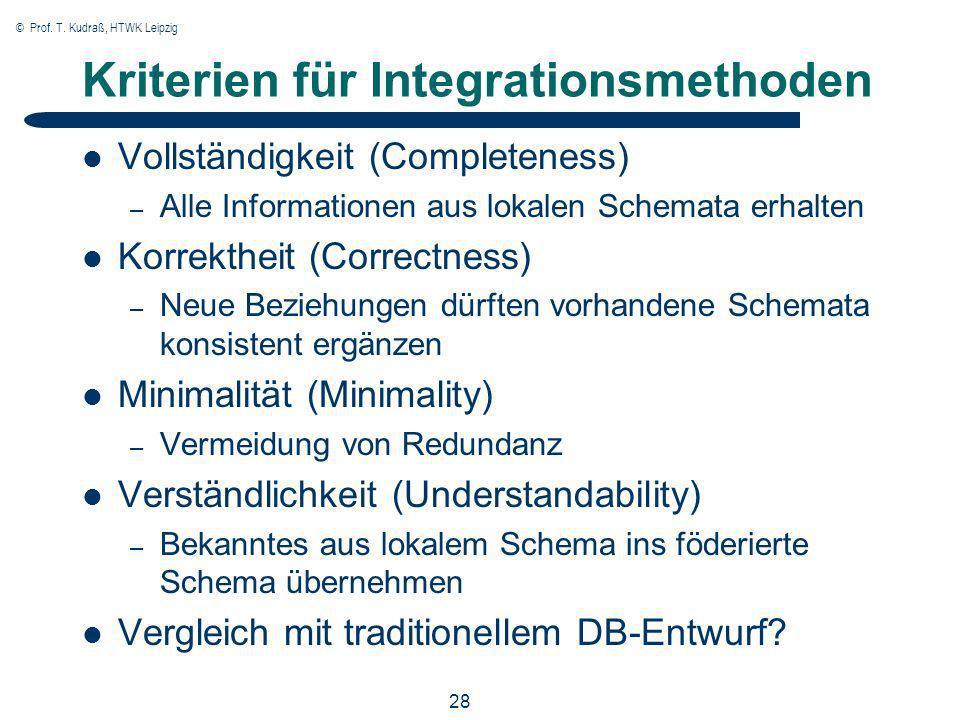 © Prof. T. Kudraß, HTWK Leipzig 28 Kriterien für Integrationsmethoden Vollständigkeit (Completeness) – Alle Informationen aus lokalen Schemata erhalte