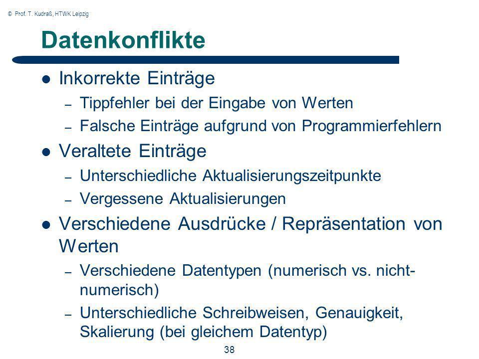 © Prof. T. Kudraß, HTWK Leipzig 38 Datenkonflikte Inkorrekte Einträge – Tippfehler bei der Eingabe von Werten – Falsche Einträge aufgrund von Programm