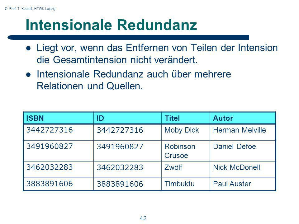 © Prof. T. Kudraß, HTWK Leipzig 42 Intensionale Redundanz Liegt vor, wenn das Entfernen von Teilen der Intension die Gesamtintension nicht verändert.
