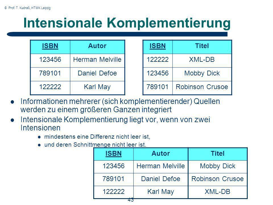 © Prof. T. Kudraß, HTWK Leipzig 43 Intensionale Komplementierung Informationen mehrerer (sich komplementierender) Quellen werden zu einem größeren Gan