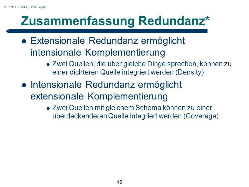 © Prof. T. Kudraß, HTWK Leipzig 45 Zusammenfassung Redundanz* Extensionale Redundanz ermöglicht intensionale Komplementierung Zwei Quellen, die über g