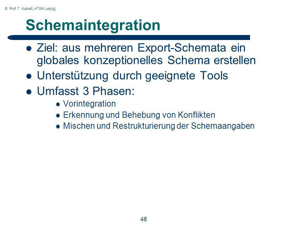 © Prof. T. Kudraß, HTWK Leipzig 46 Schemaintegration Ziel: aus mehreren Export-Schemata ein globales konzeptionelles Schema erstellen Unterstützung du