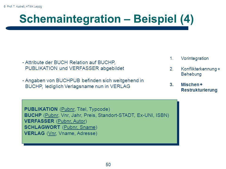 © Prof. T. Kudraß, HTWK Leipzig 50 Schemaintegration – Beispiel (4) PUBLIKATION (Pubnr, Titel, Typcode) BUCHP (Pubnr, Vnr, Jahr, Preis, Standort-STADT