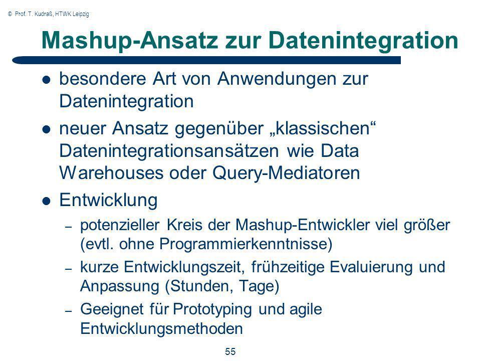 © Prof. T. Kudraß, HTWK Leipzig 55 Mashup-Ansatz zur Datenintegration besondere Art von Anwendungen zur Datenintegration neuer Ansatz gegenüber klassi