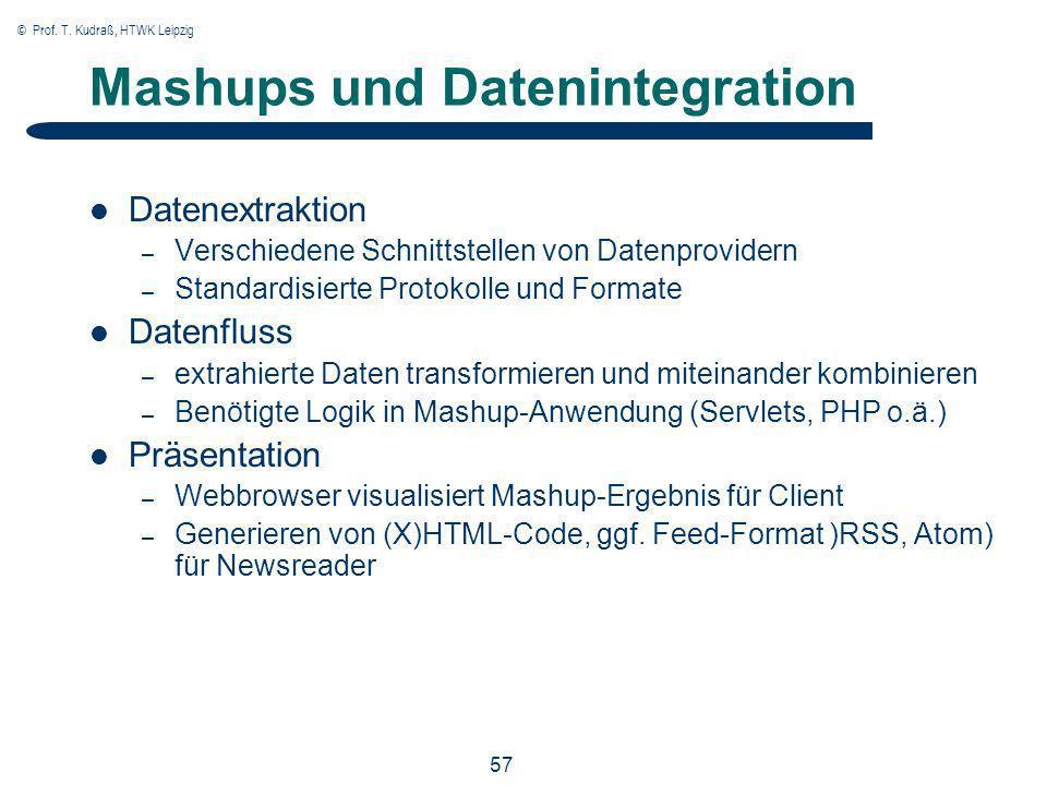 © Prof. T. Kudraß, HTWK Leipzig 57 Mashups und Datenintegration Datenextraktion – Verschiedene Schnittstellen von Datenprovidern – Standardisierte Pro