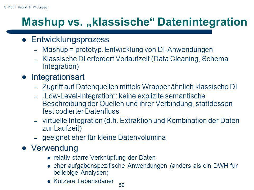 © Prof. T. Kudraß, HTWK Leipzig 59 Mashup vs. klassische Datenintegration Entwicklungsprozess – Mashup = prototyp. Entwicklung von DI-Anwendungen – Kl