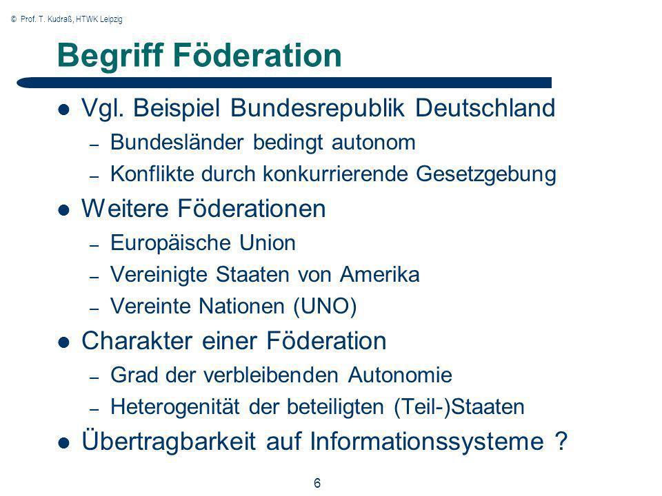 © Prof. T. Kudraß, HTWK Leipzig 6 Begriff Föderation Vgl. Beispiel Bundesrepublik Deutschland – Bundesländer bedingt autonom – Konflikte durch konkurr
