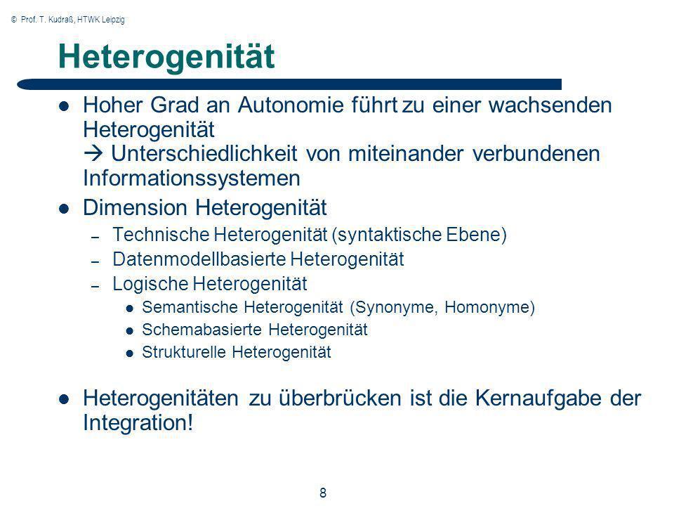 © Prof. T. Kudraß, HTWK Leipzig 8 Heterogenität Hoher Grad an Autonomie führt zu einer wachsenden Heterogenität Unterschiedlichkeit von miteinander ve