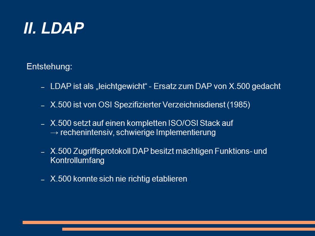 II. LDAP Entstehung: – LDAP ist als leichtgewicht - Ersatz zum DAP von X.500 gedacht – X.500 ist von OSI Spezifizierter Verzeichnisdienst (1985) – X.5