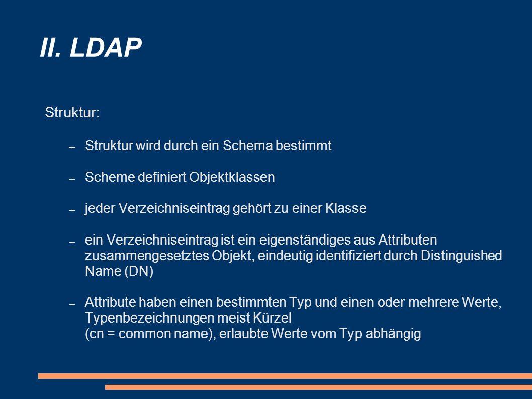 II. LDAP Struktur: – Struktur wird durch ein Schema bestimmt – Scheme definiert Objektklassen – jeder Verzeichniseintrag gehört zu einer Klasse – ein