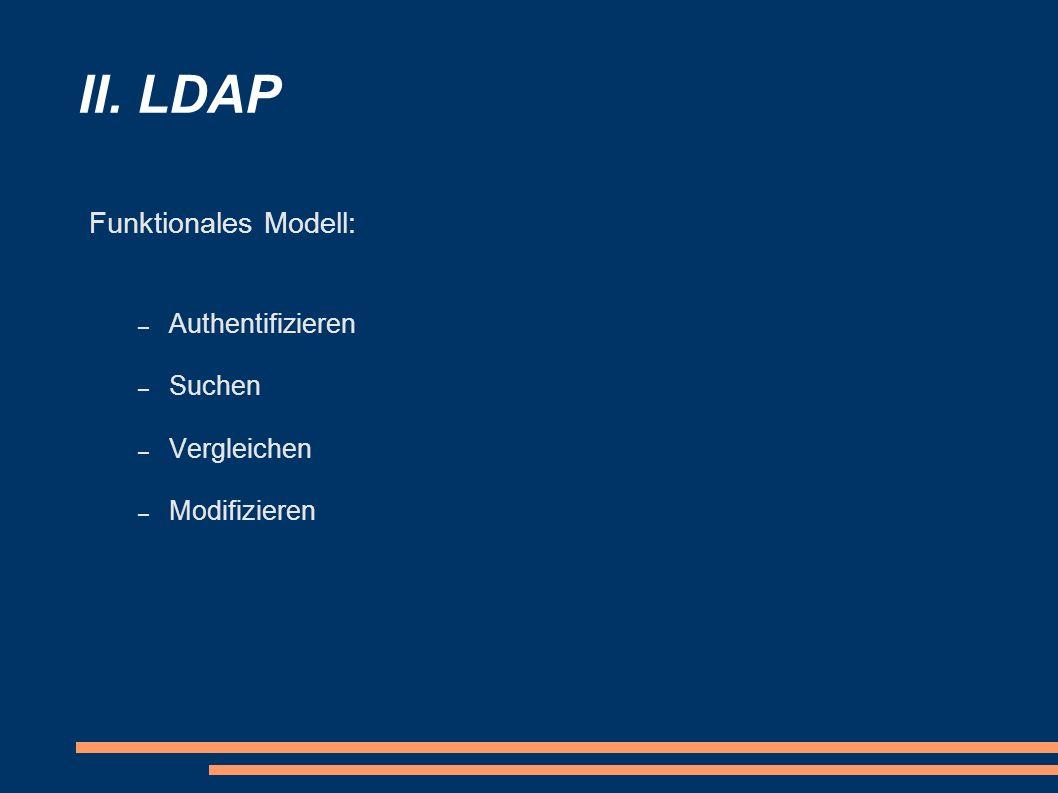 II. LDAP Funktionales Modell: – Authentifizieren – Suchen – Vergleichen – Modifizieren