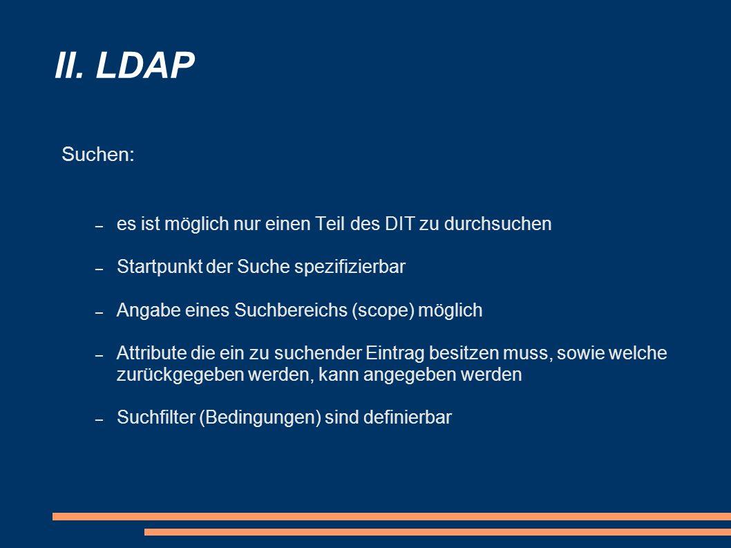 II. LDAP Suchen: – es ist möglich nur einen Teil des DIT zu durchsuchen – Startpunkt der Suche spezifizierbar – Angabe eines Suchbereichs (scope) mögl