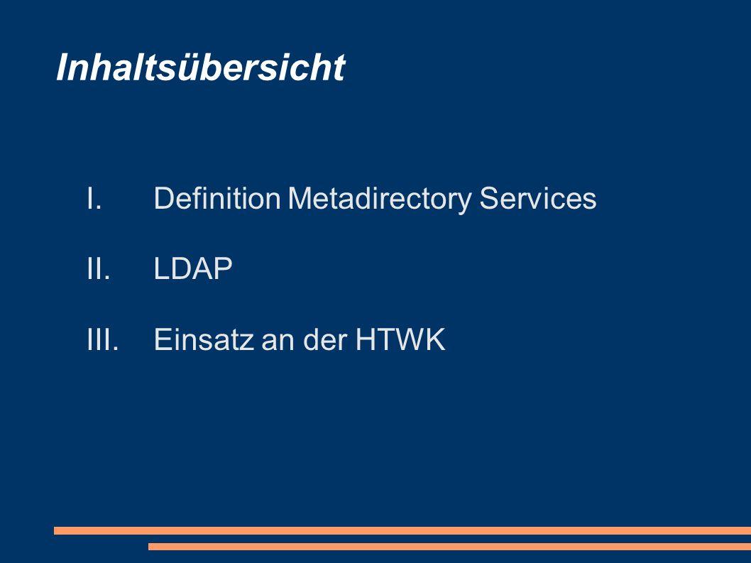 Inhaltsübersicht I.Definition Metadirectory Services II.LDAP III.Einsatz an der HTWK